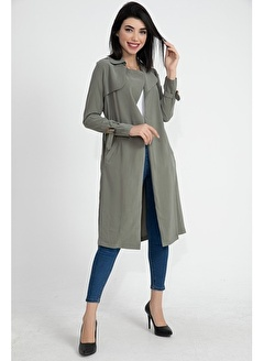 Vpr Moda Beli Kuşaklı Cupra Kumaş Kadın Trençkot